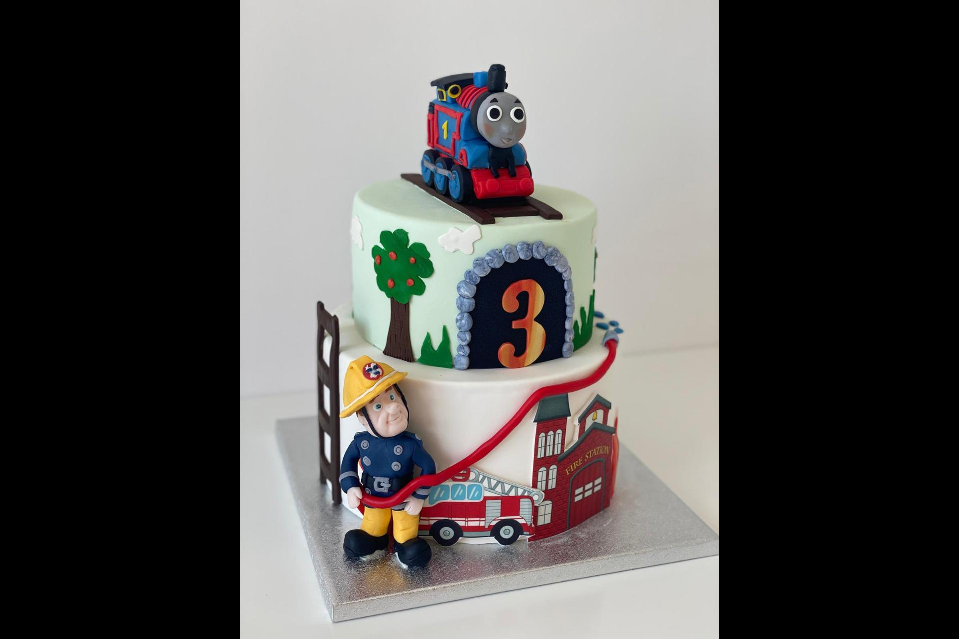 Tort Aniversare Copil - Tematica Pompierul Sam si Trenuletul Thomas